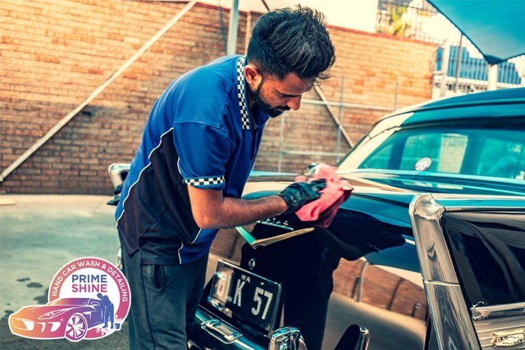 Car hand spray waxing service removing car water spots vehicle paint smooth and shine waxing car exterior service